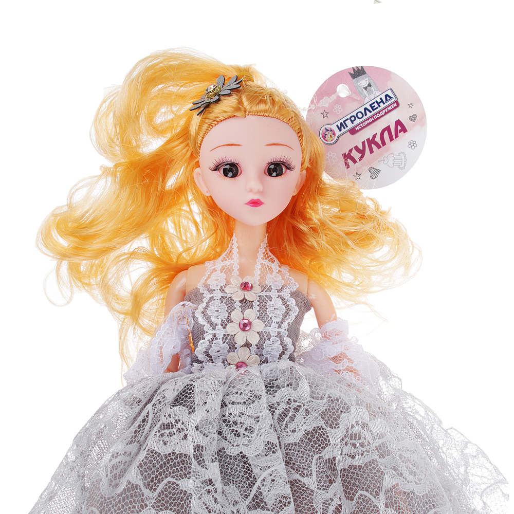 Кукла в пышном наряде, шарнирная, 30см, пластик, полиэстер, 4-6 цветов - 3