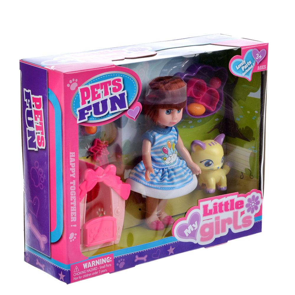 """Игровой набор кукла """"Классика"""", 22-24см, с питомцем, пластик, полиэстер, 2 дизайна - 2"""
