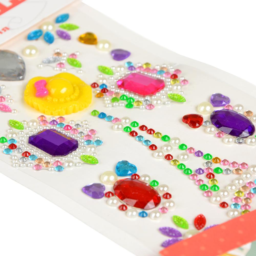 Узор из страз самоклеящихся для декорирования, пластик, 10х23х0,5см, 6-10 цветов - 3