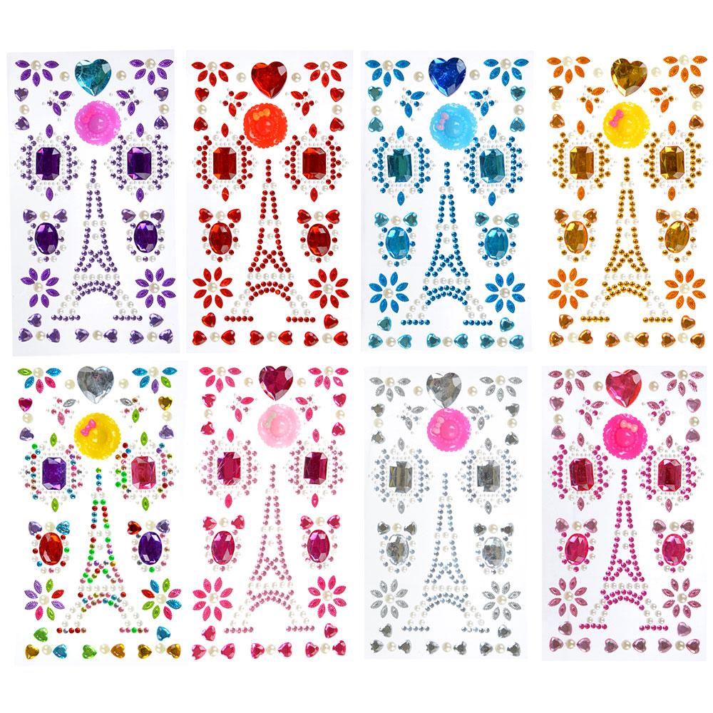 Узор из страз самоклеящихся для декорирования, пластик, 10х23х0,5см, 6-10 цветов - 4