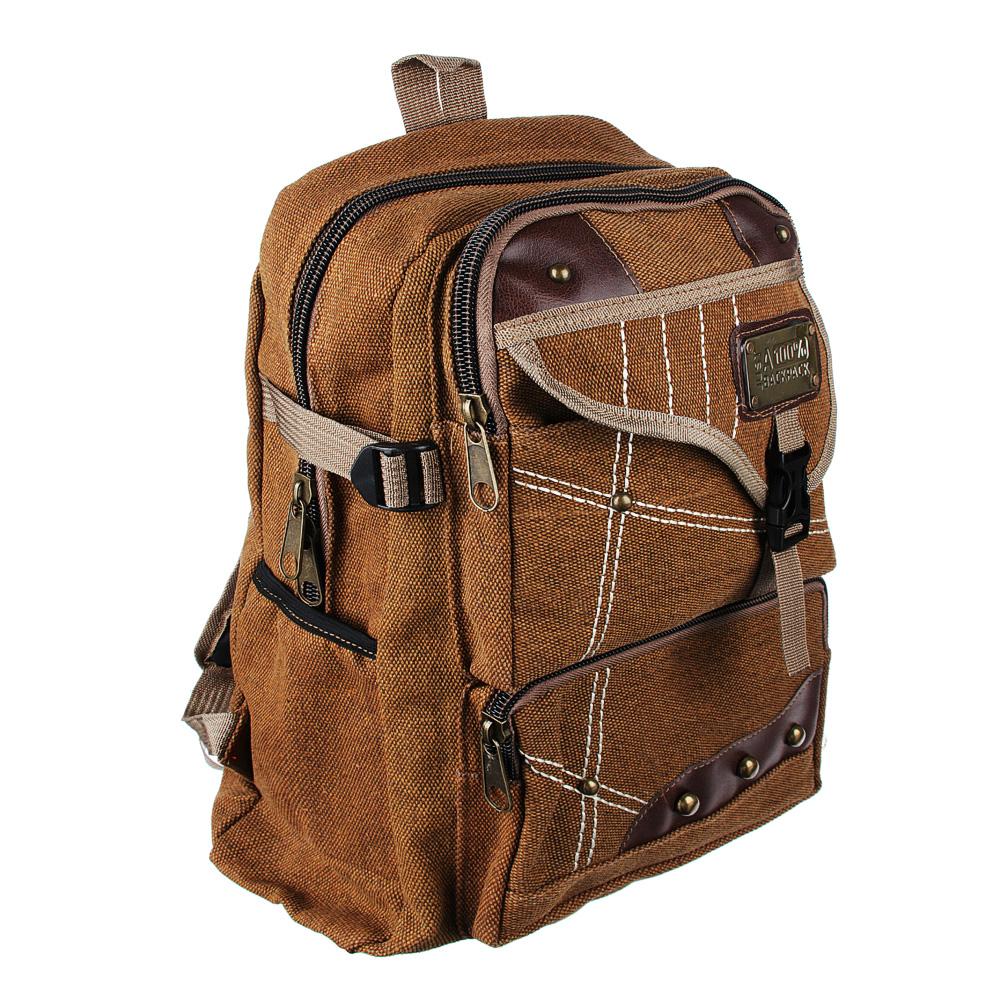 Рюкзак подростковый 41x31x15см, мягкий, 1 отдение на молнии, 4 кармана, металл, 2 цвета - 3