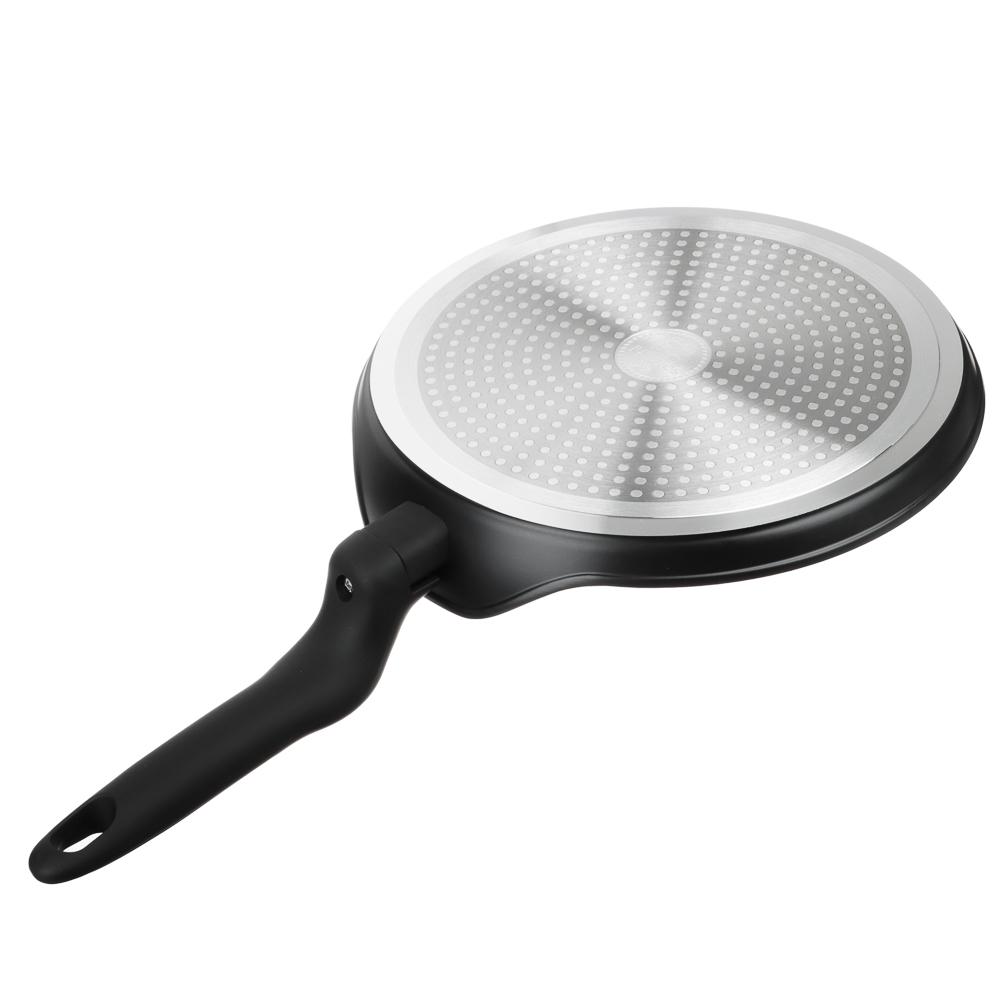 Сковорода блинная d.24 см SATOSHI Стоун, антипригарное покрытие Мрамор, индукция - 5