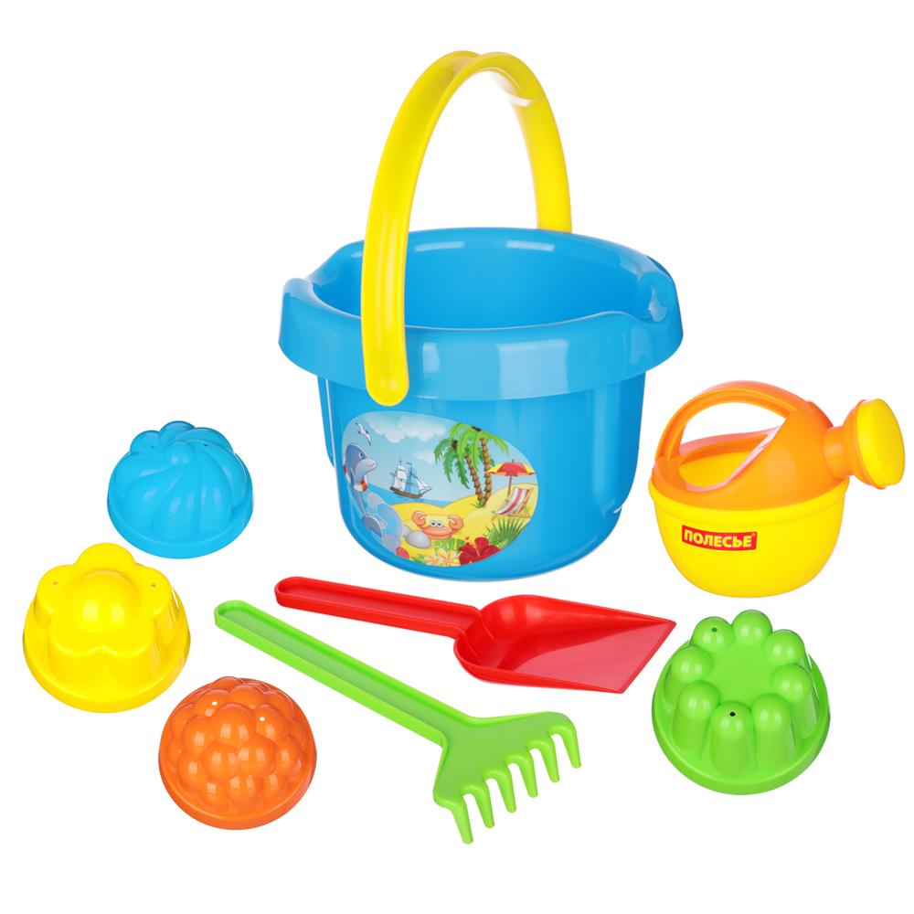 ПОЛЕСЬЕ Набор для песочницы с большим ведром, 5-8пр., пластик, 18,5х22,5х20см, 4 дизайна - 4