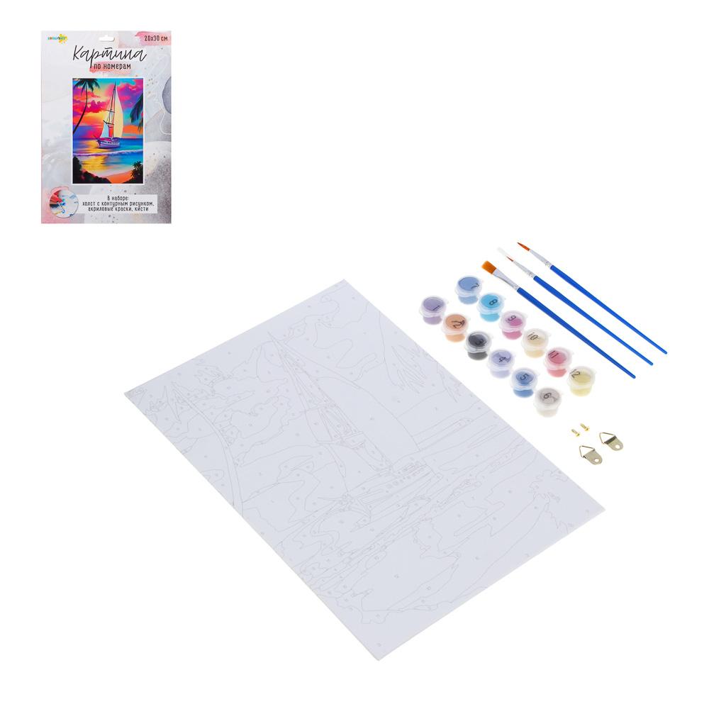ХОББИХИТ Картина по номерам, комплект (основа, акриловые краски, кисть), 20х30см, 12 дизайнов - 3
