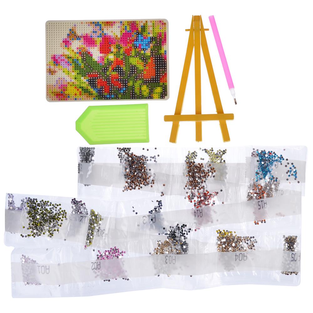 ХОББИХИТ Картина из страз, комплект (стразы, палочка, основа, мольберт), 10х15см, 10 дизайнов - 2