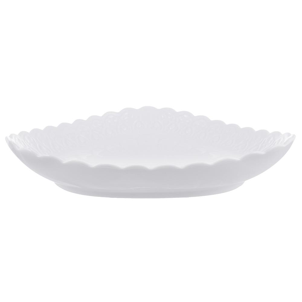 "Блюдо сервировочное фарфоровое, 25,5х25,5х5 см, рельеф, MILLIMI ""Жемчуг"" - 2"