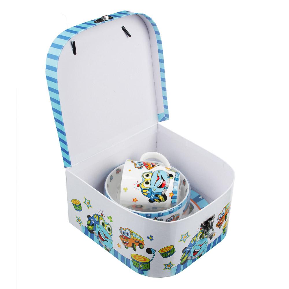 Набор детской посуды: тарелка 18 см, суповая тарелка 12,5х5,5 см, кружка 215 мл, костяной фарфор MIL - 4
