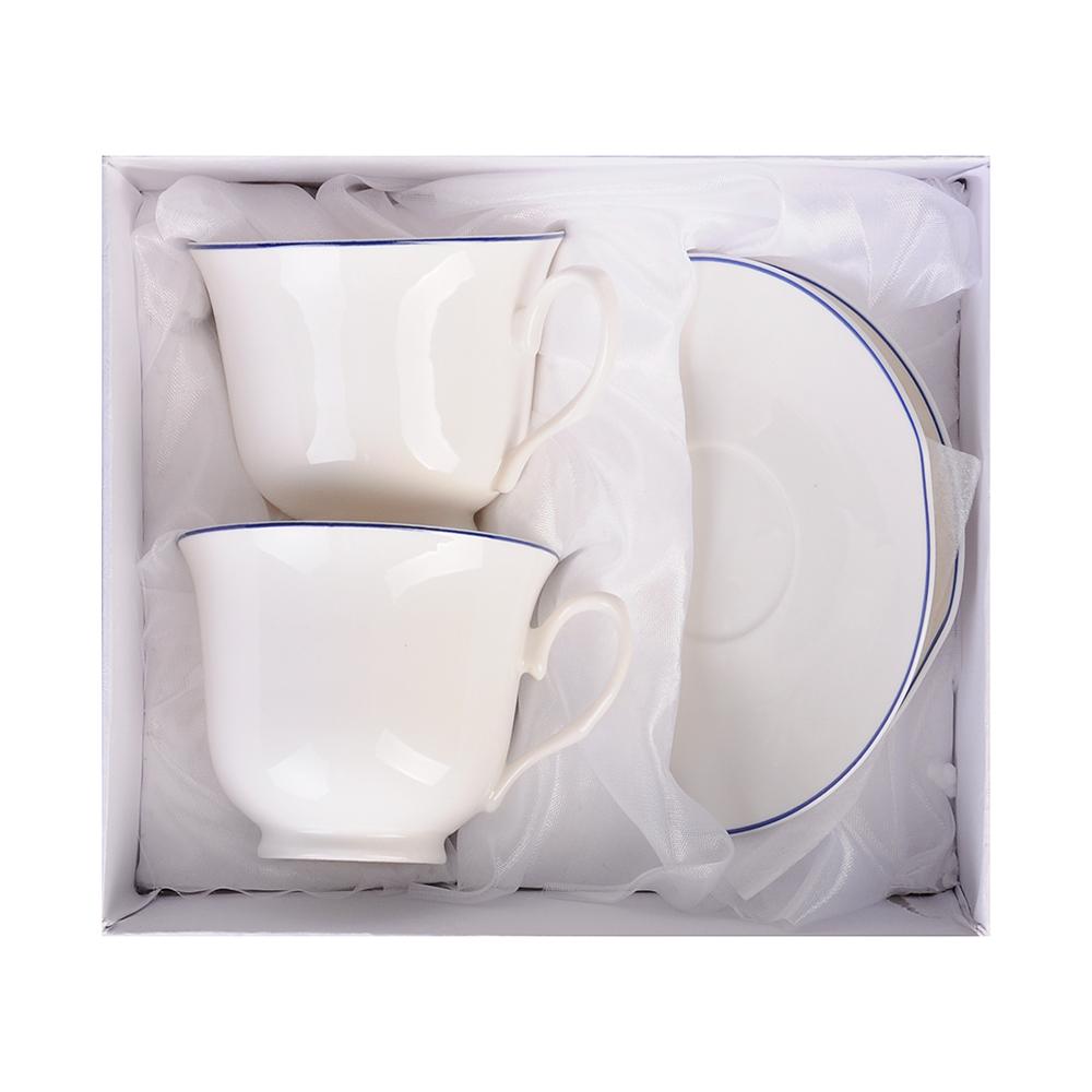 """Чайный сервиз 4 предмета, 250 мл, костяной фарфор, MILLIMI """"Марина"""" - 2"""