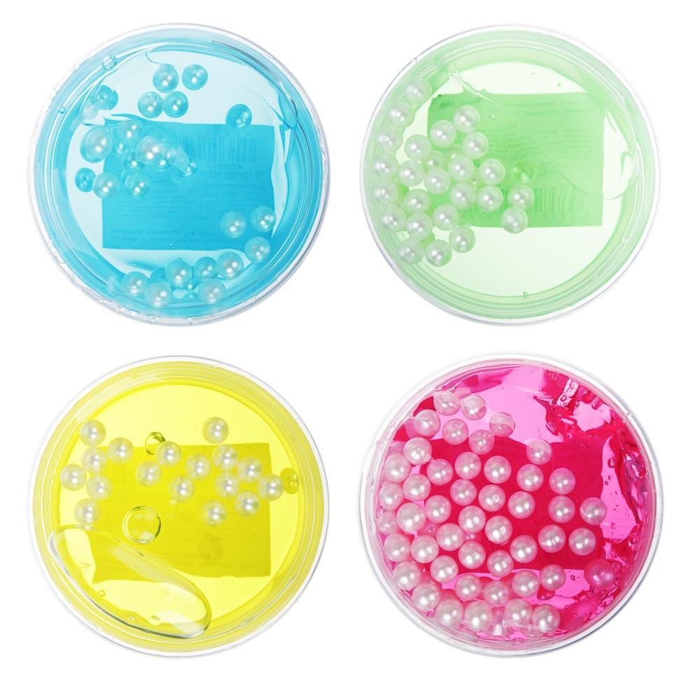 Слайм с жемчужными бусинами, 62-70гр, пластик, полимер, 6 цветов - 2