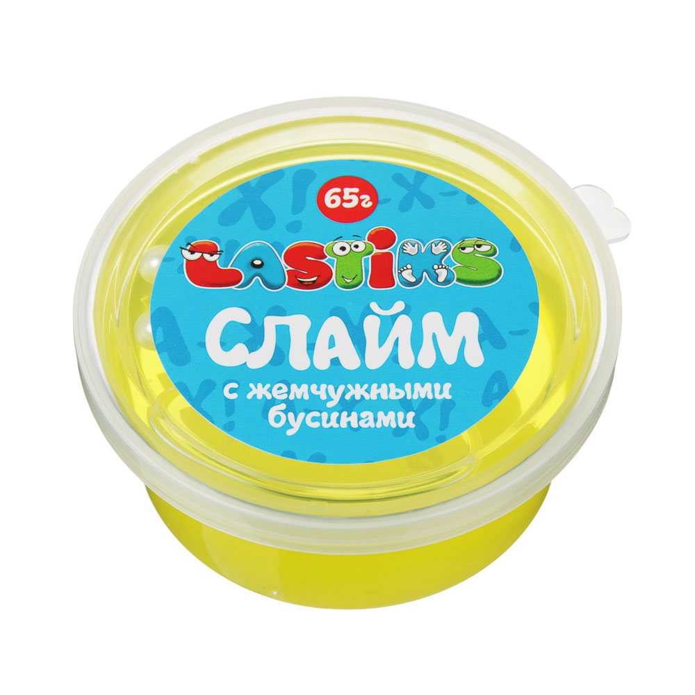 Слайм с жемчужными бусинами, 62-70гр, пластик, полимер, 6 цветов - 5