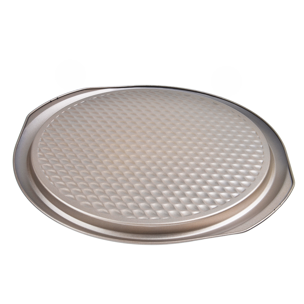 Форма для пиццы 37х35х2 см, углеродистая сталь, золотистое покрытие - 2