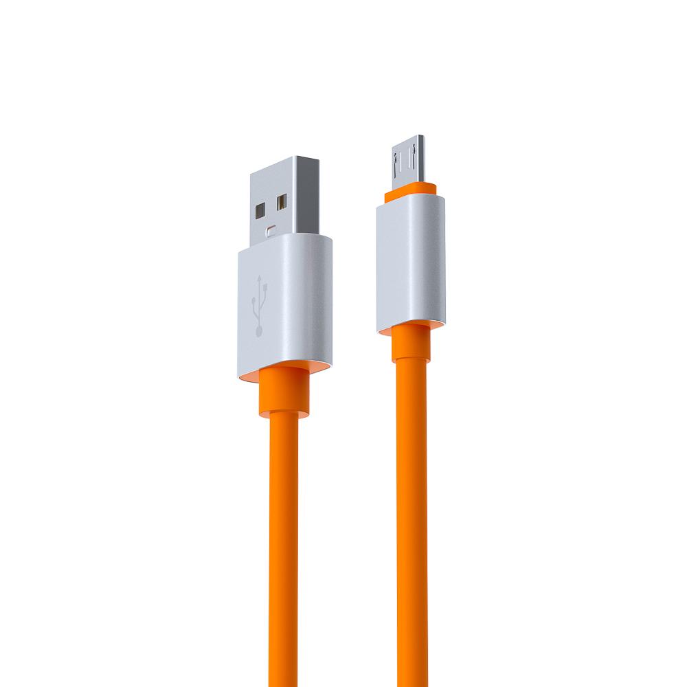 FORZA BY Кабель для зарядки Шнур Micro USB, 1м, 2А, стикеры в комплекте, оранжевый, пакет - 3