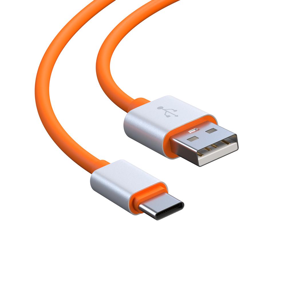 FORZA BY Кабель для зарядки Шнур Type-C, 1м, 2А, стикеры в комплекте, оранжевый, пакет - 3