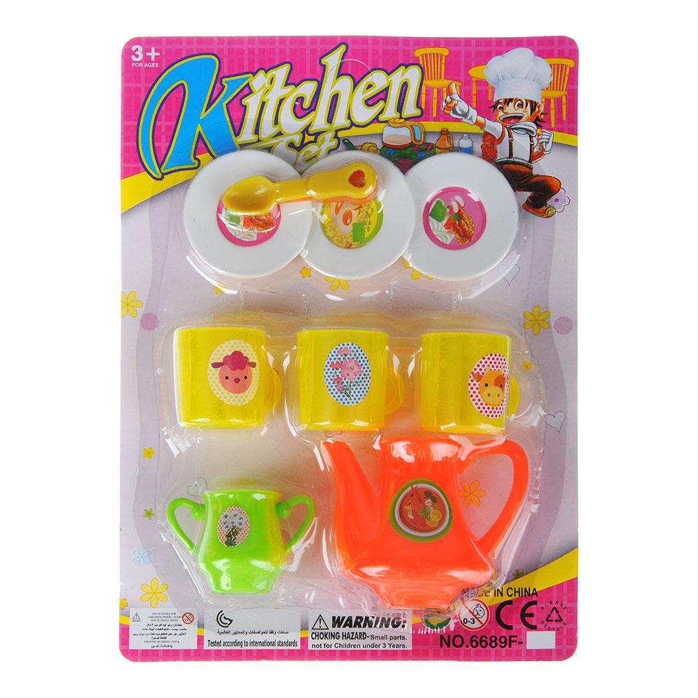 """Набор детской посуды """"Чайный"""", 9пр., пластик, 16х21,5х3см, 2 дизайна - 2"""