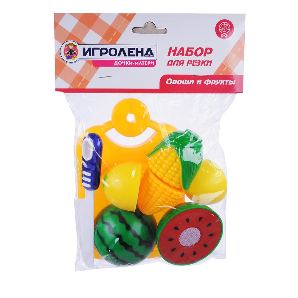 ИГРОЛЕНД Набор овощей и фруктов для резки, 5пр., пластик, 17х20,5х4,5см, 4 дизайна - 3