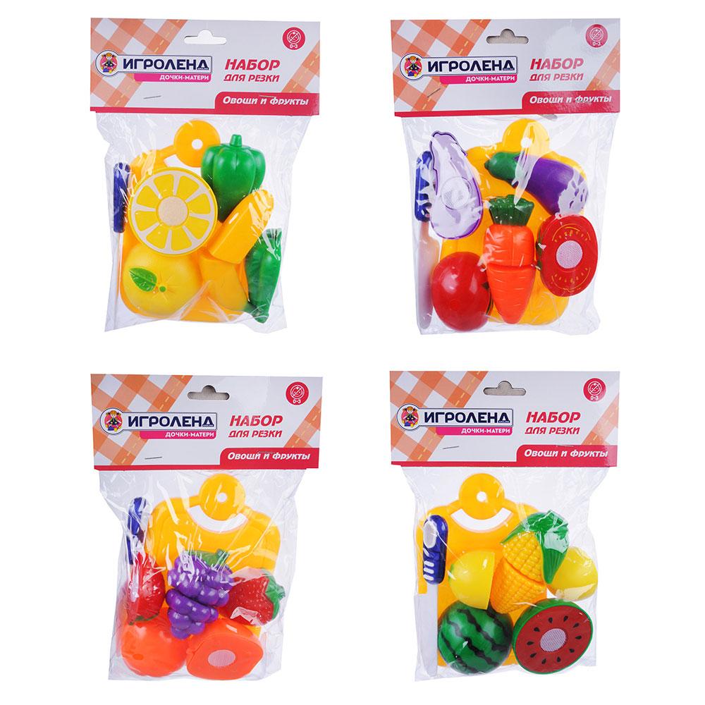 ИГРОЛЕНД Набор овощей и фруктов для резки, 5пр., пластик, 17х20,5х4,5см, 4 дизайна - 4