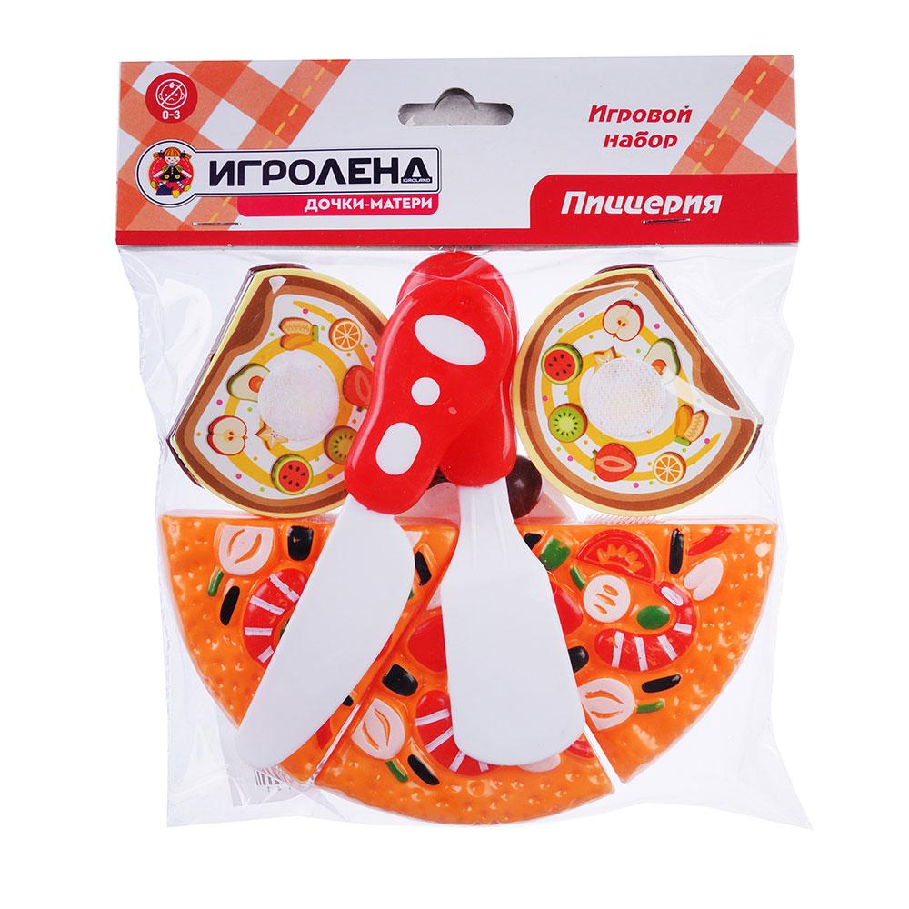 ИГРОЛЕНД Набор в виде пиццы для резки, 7пр., пластик, 17х18х5см, 6 дизайнов - 3