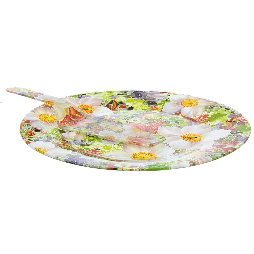 """Набор для торта 2 пр. (блюдо 30см, лопатка), стекло, """"Цветы"""", 3 дизайна - 2"""