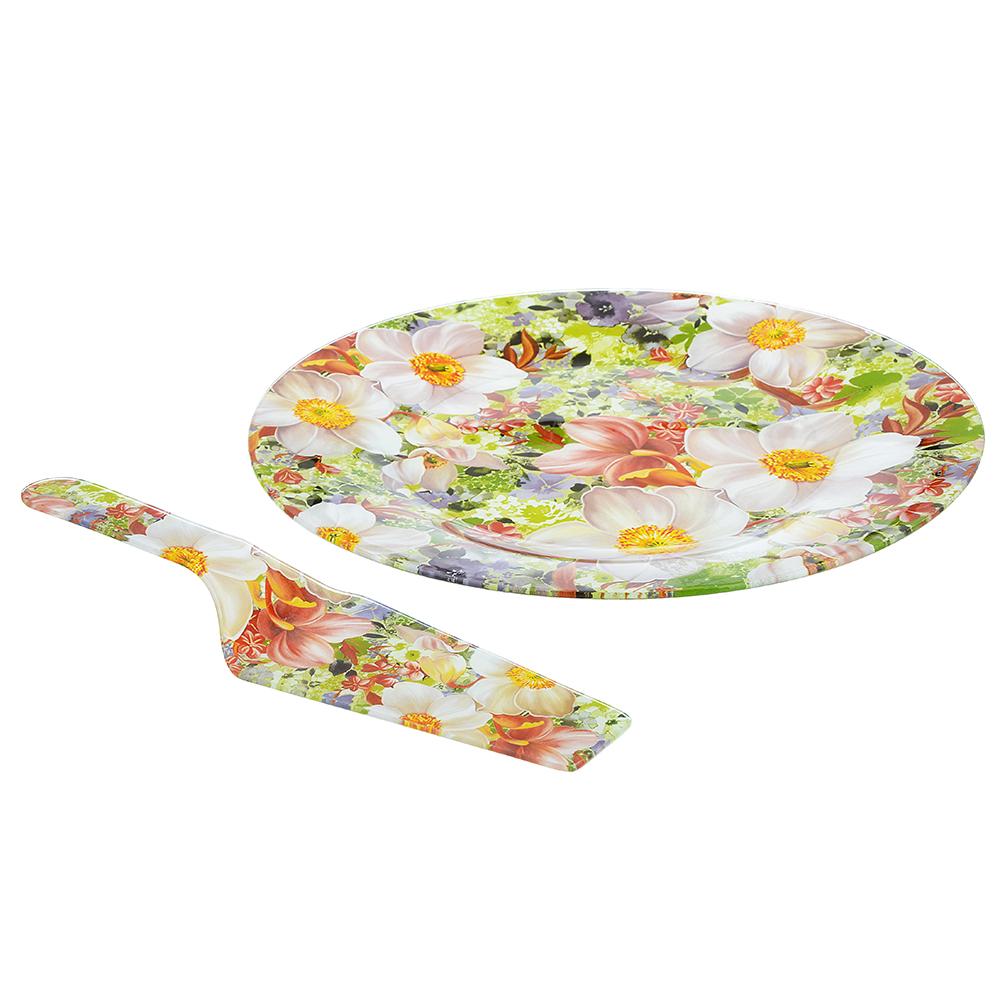 """Набор для торта 2 пр. (блюдо 30см, лопатка), стекло, """"Цветы"""", 3 дизайна - 3"""
