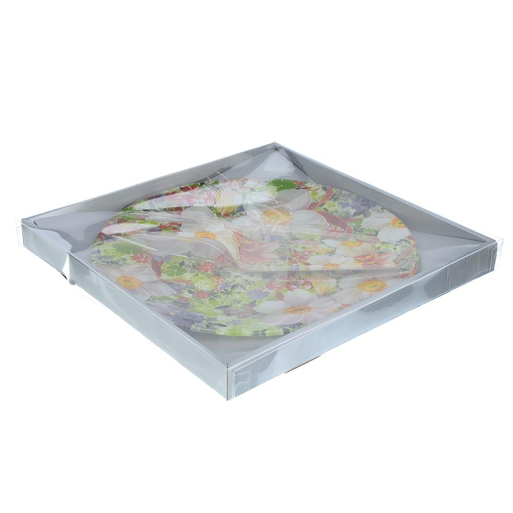 """Набор для торта 2 пр. (блюдо 30см, лопатка), стекло, """"Цветы"""", 3 дизайна - 4"""