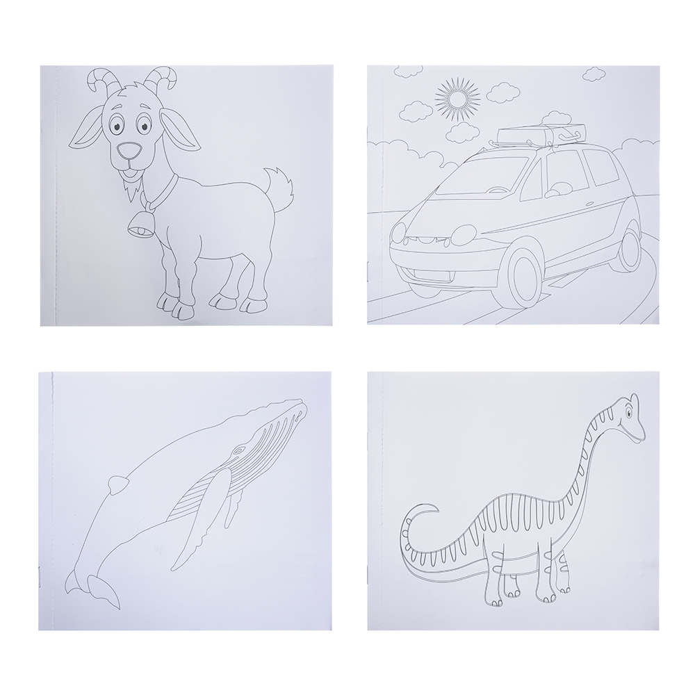 Пазл + набор раскрасок, 5 фломастеров в комплекте, картон, 17х19х1см, 6-12 дизайнов - 2