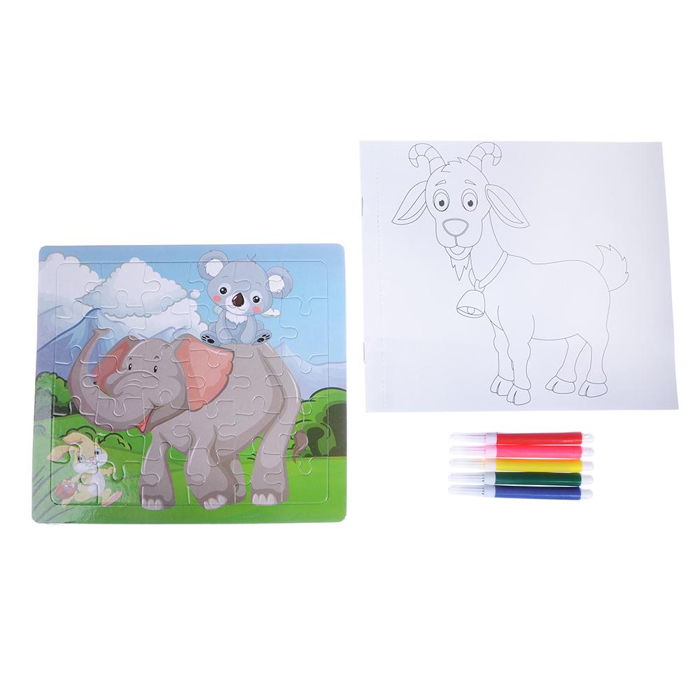 Пазл + набор раскрасок, 5 фломастеров в комплекте, картон, 17х19х1см, 6-12 дизайнов - 3