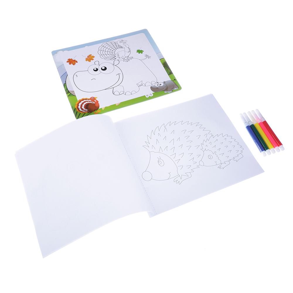 Пазл + набор раскрасок, 5 фломастеров в комплекте, картон, 17х19х1см, 6-12 дизайнов - 4