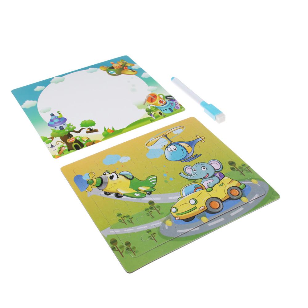 Пазл + рамка для рисования, маркер, картон, 19х17,2х0,5 см, 6-12 дизайнов - 2