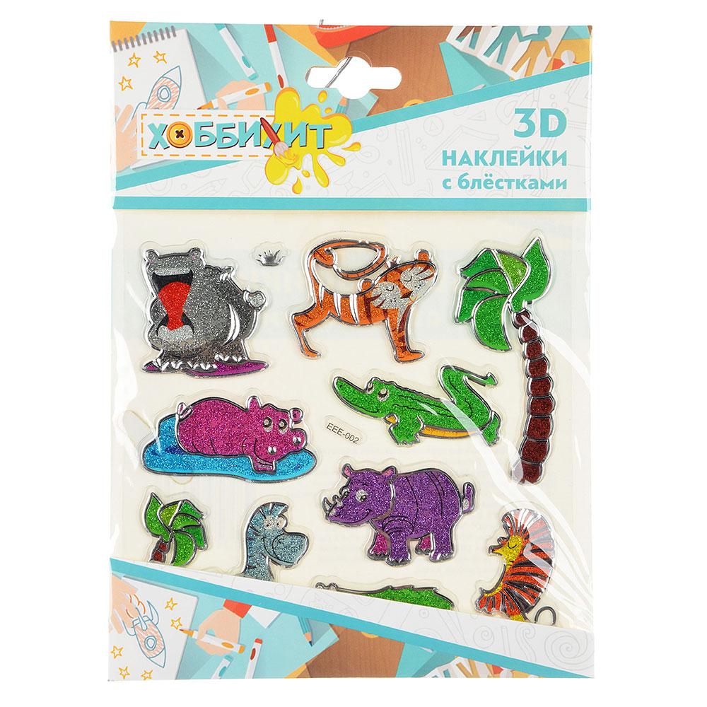 Набор 3D объемных декоративных наклеек с блестками, 21х15,5см, 6-12 дизайнов - 4