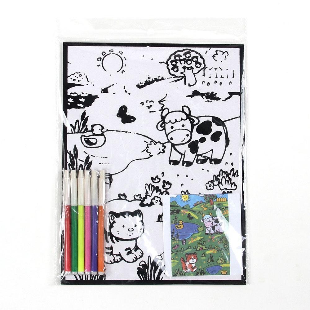 Раскраска бархатная ассорти, бумага, 21х28см, 6 фломастеров, 8-16 дизайнов - 3