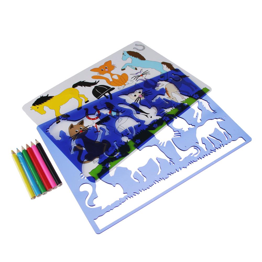 Трафарет для рисования + 6 карандашей, пластик, 26-28х17-18,5 см, 5-10 дизайнов - 3