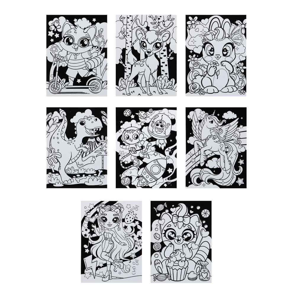 ХОББИХИТ Раскраска бархатная антистресс, бумага, 6 фломастеров, 21х28см, 12 дизайнов - 2