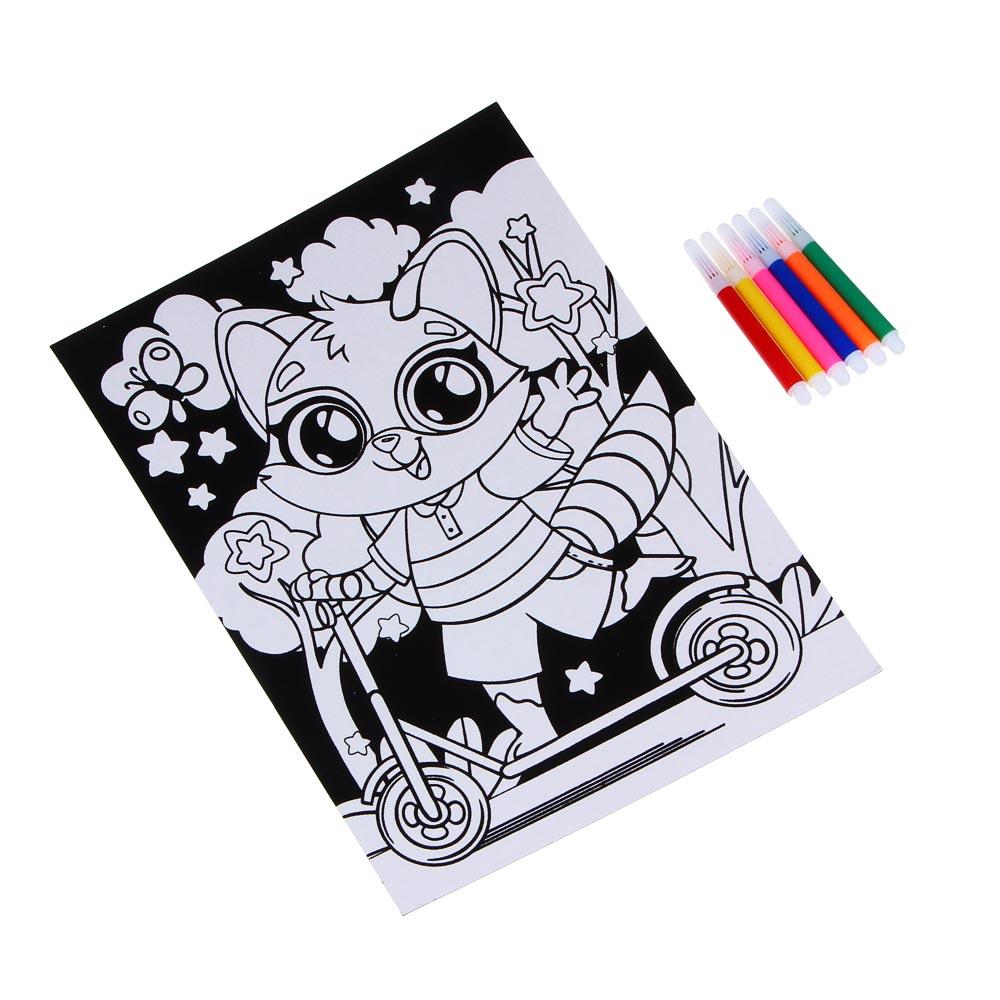 ХОББИХИТ Раскраска бархатная антистресс, бумага, 6 фломастеров, 21х28см, 12 дизайнов - 3