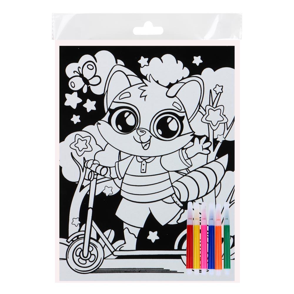 ХОББИХИТ Раскраска бархатная антистресс, бумага, 6 фломастеров, 21х28см, 12 дизайнов - 4