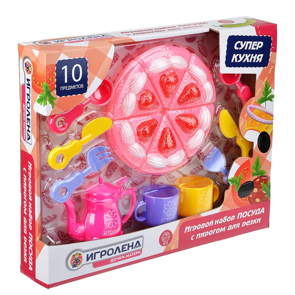 "Набор игровой ""Посуда с пирогом для резки"", 10 пр., пластик, 36х29х6,5см - 3"