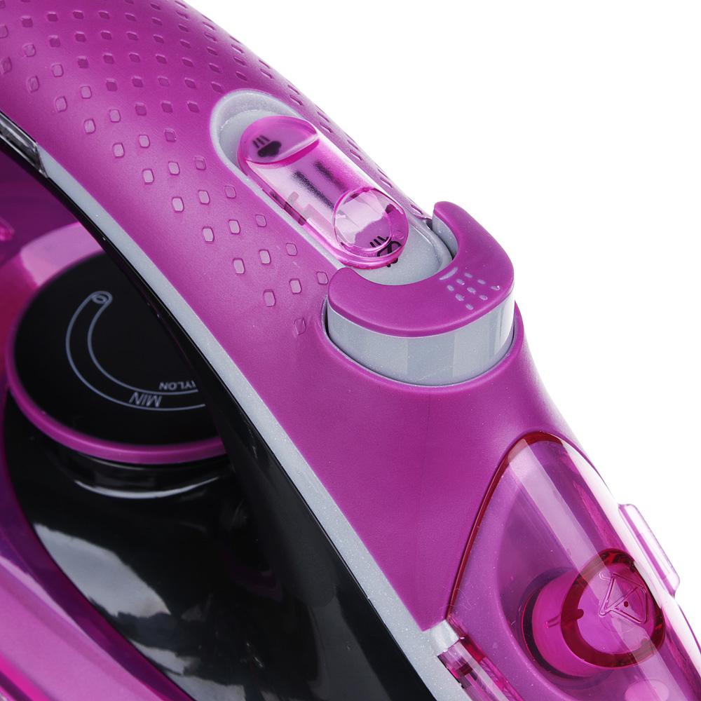 Утюг LEBEN LED 2200 Вт, подошва керамика, светодиодный индикатор нагрева, розовый/черный 249-018 - 3