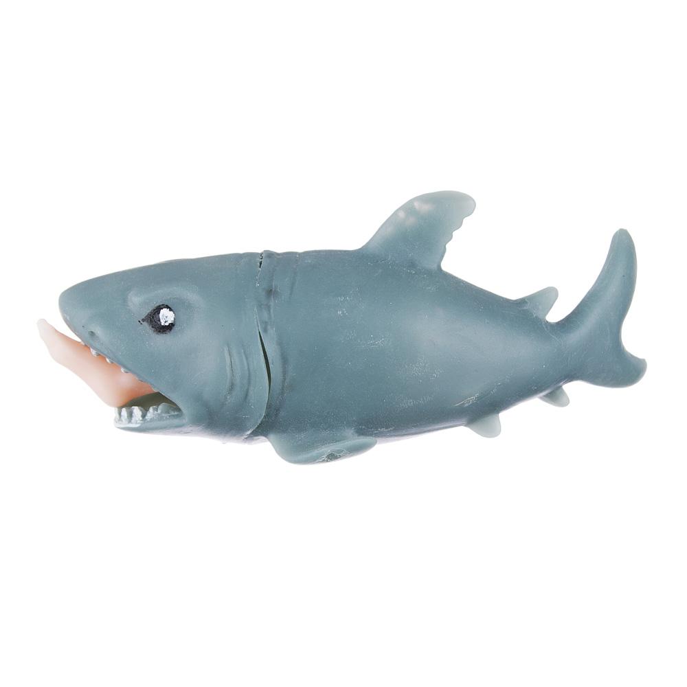 Мялка-антистресс в виде акулы с ногой в пасти, резина, 12см, 1 дизайн - 2