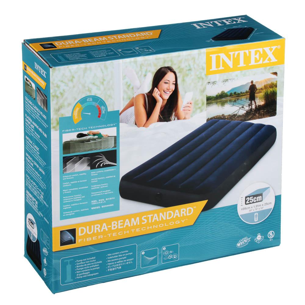 """Кровать надувная, FIBER-TECH, 99х191х25 см, INTEX """"Classic downy Твин"""", 64757 - 2"""