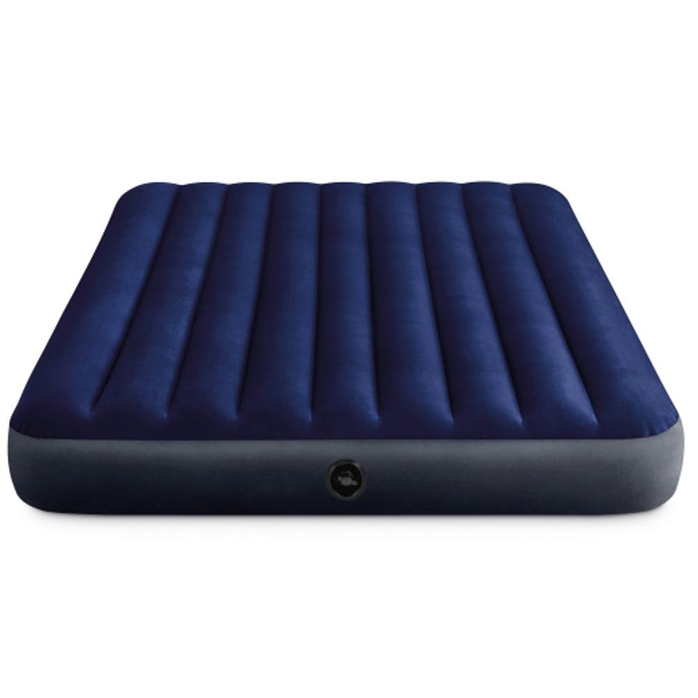 """Кровать надувная, ручной насос, 2 подушки, FIBER-TECH, 152х203х25 см, INTEX """"Classic downy Квин"""", 64 - 2"""
