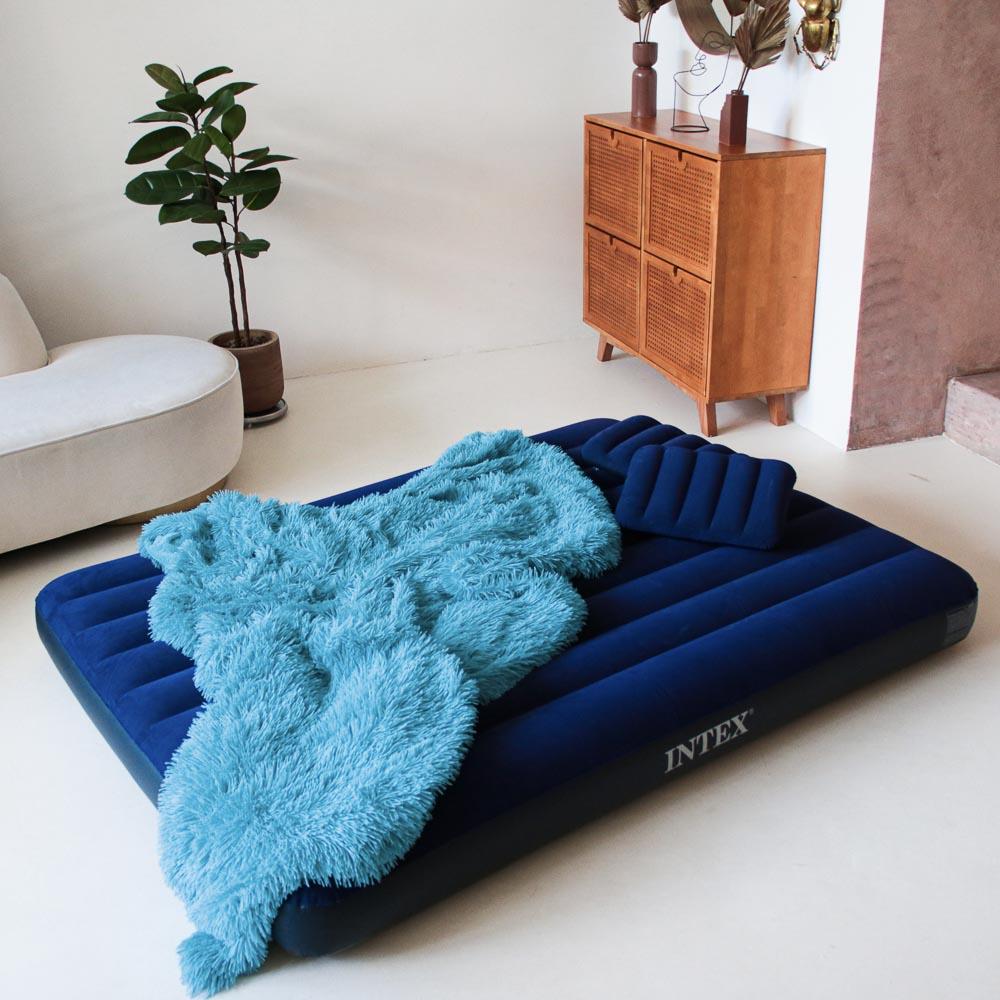 """Кровать надувная, ручной насос, 2 подушки, FIBER-TECH, 152х203х25 см, INTEX """"Classic downy Квин"""", 64 - 5"""