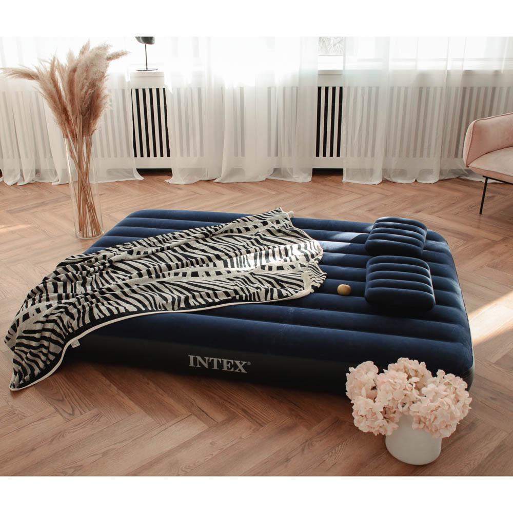 """Кровать надувная, ручной насос, 2 подушки, FIBER-TECH, 152х203х25 см, INTEX """"Classic downy Квин"""", 64 - 6"""