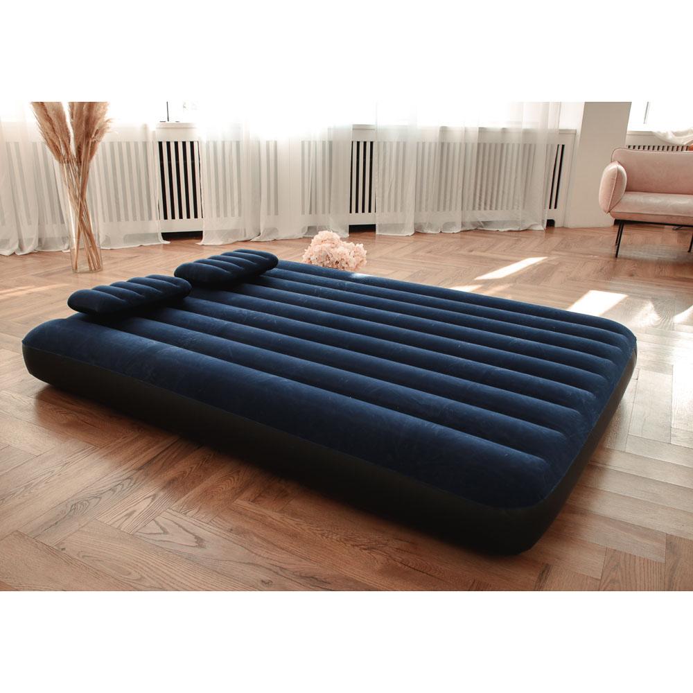 """Кровать надувная, ручной насос, 2 подушки, FIBER-TECH, 152х203х25 см, INTEX """"Classic downy Квин"""", 64 - 8"""