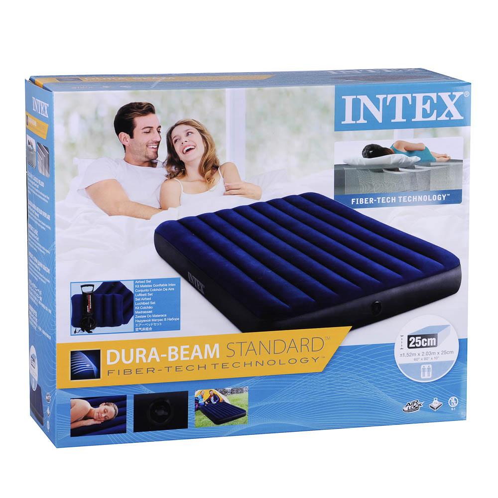 """Кровать надувная, ручной насос, 2 подушки, FIBER-TECH, 152х203х25 см, INTEX """"Classic downy Квин"""", 64 - 9"""