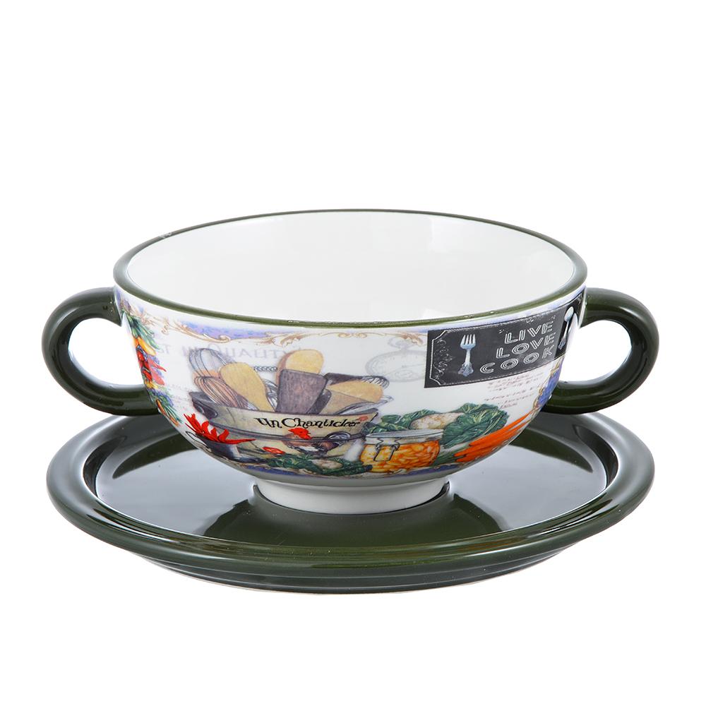 """Набор посуды для бульона 2 предмета, керамика, 3 дизайна, MILLIMI """"Кулинария"""" - 2"""