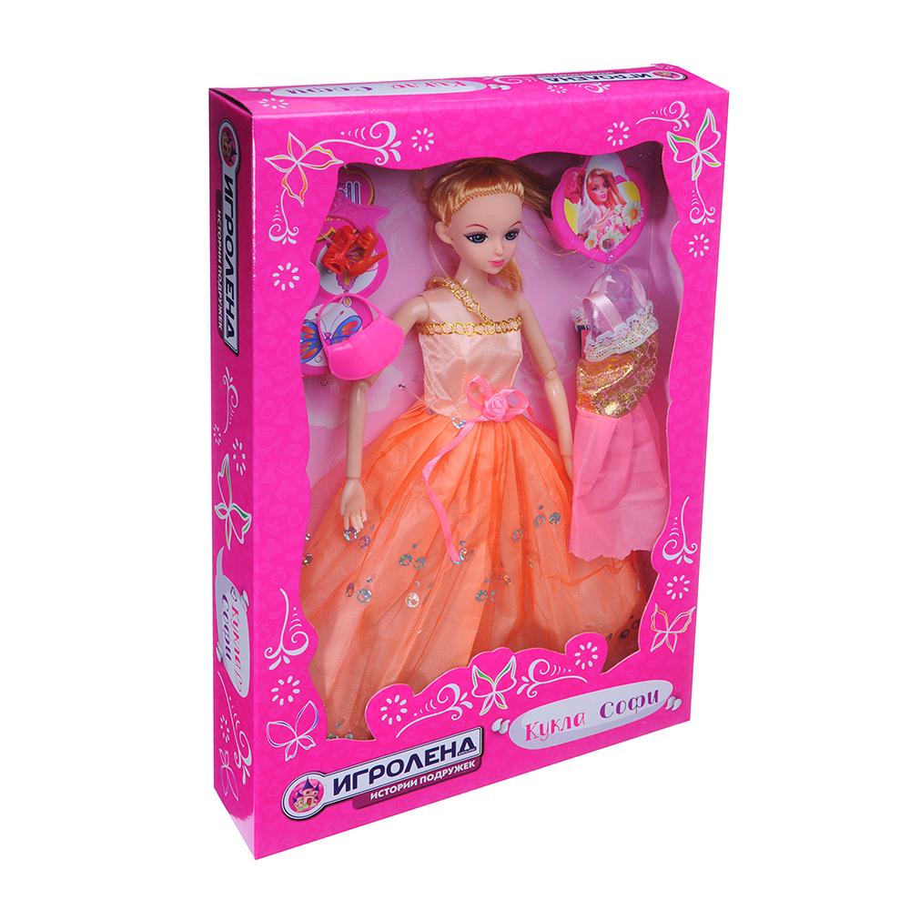 ИГРОЛЕНД Кукла шарнирная в бальном платье с аксессуарами, 30см, пластик, 21х33х4,8см - 2