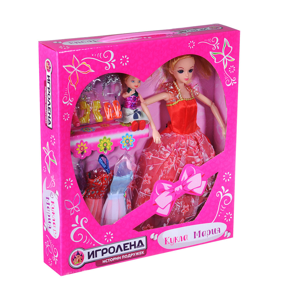 ИГРОЛЕНД Кукла шарнирн. в бальн. платье + мини-кукла и набор аксессуаров,30см,пластик,29х32х6см - 2