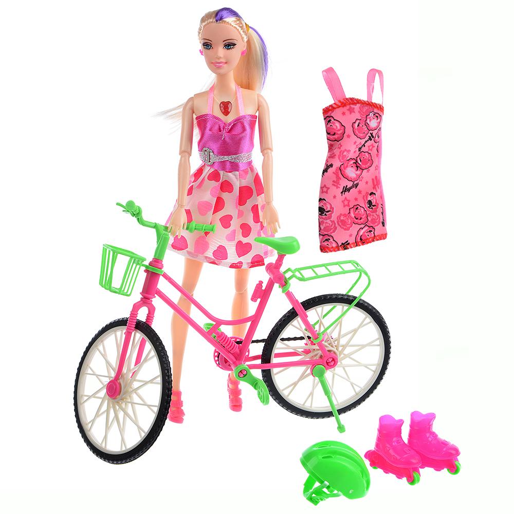 ИГРОЛЕНД Кукла с велосипедом и аксессуарами, 30см, PVC ,PS, 26х33х7см - 2