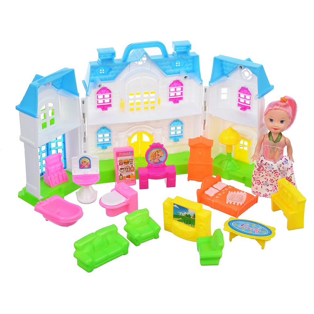 """ИГРОЛЕНД Набор """"Дом для куклы с мебелью и куклой"""", пластик, 38х28х5,2см - 2"""