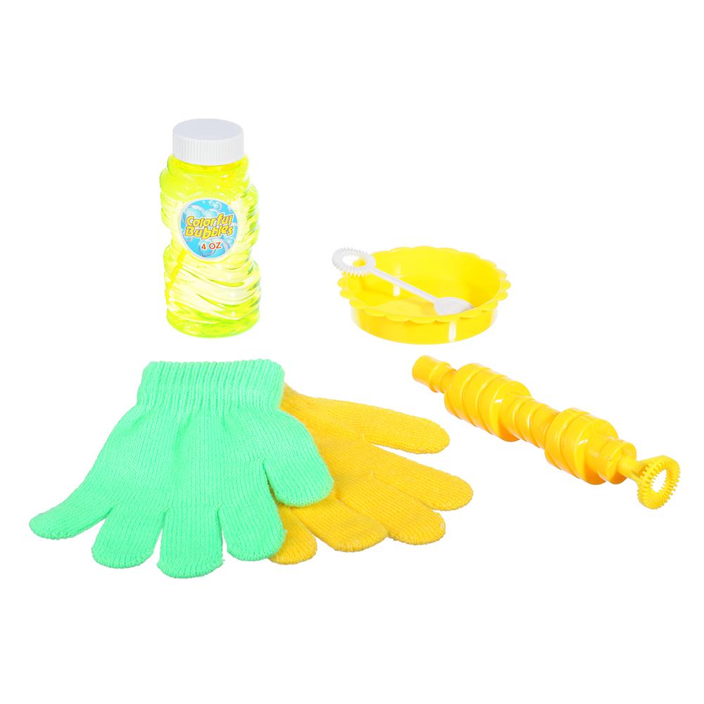 Мыльные пузыри эластичные с перчатками, 6 предм., мыльный р-р 118мл, пласт., ПЭ, 19х28х5см - 2