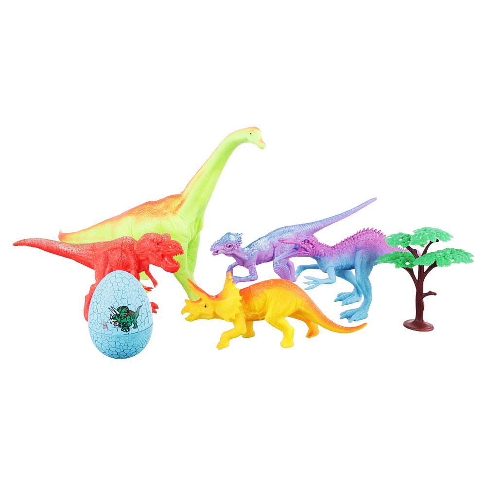 ИГРОЛЕНД Набор фигурок динозавров, 7пр., ПВХ, ПС, 47x27x6см, 2 дизайна - 2
